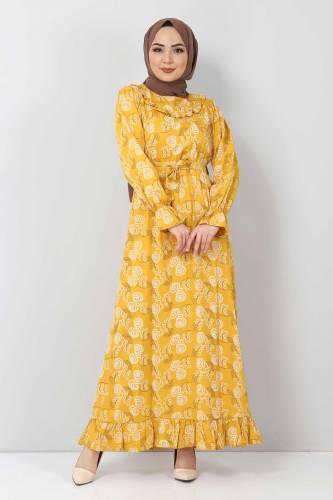 Tesettür Dünyası - Desenli Fırfırlı Elbise TSD2817 Hardal