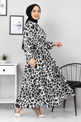 Tesettür Dünyası - Desenli Mevlana Elbise TSD4414 Siyah (1)