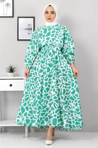 Tesettür Dünyası - Desenli Mevlana Elbise TSD4414 Yeşil