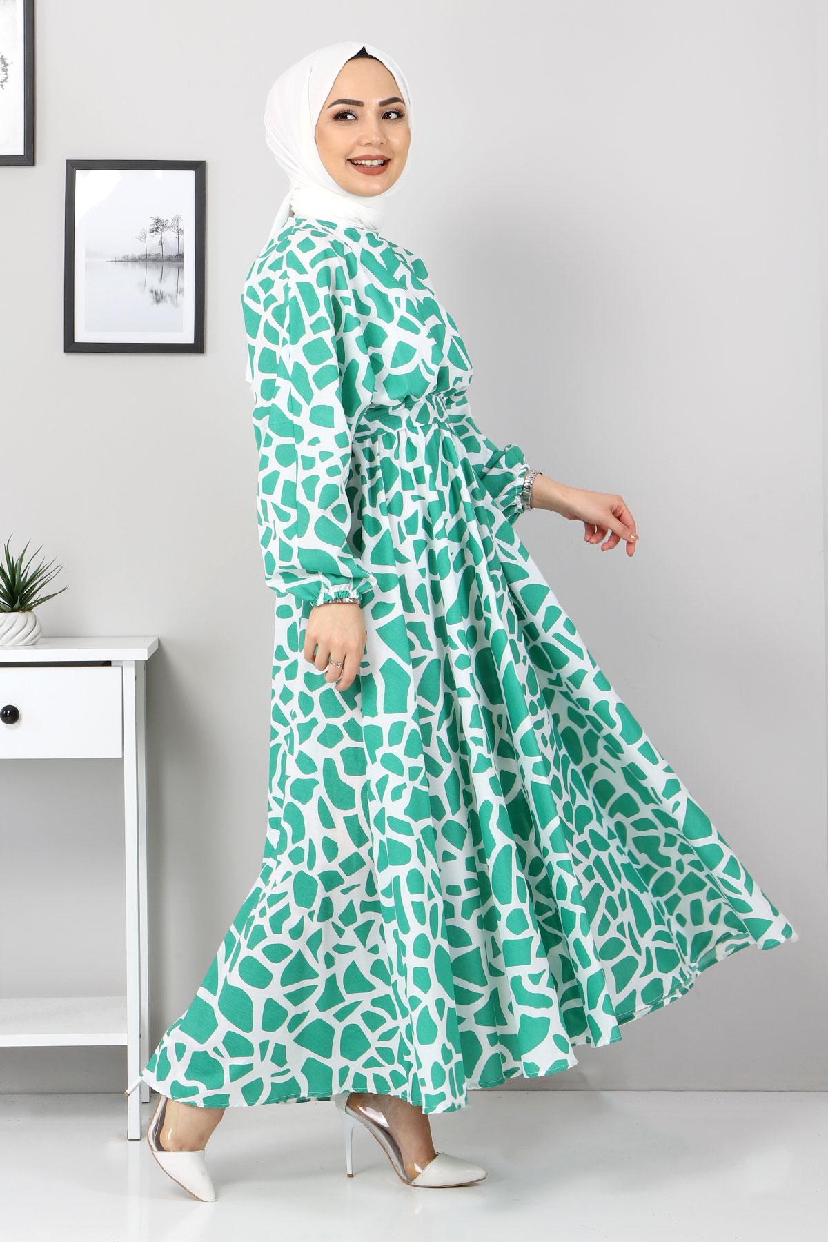 Desenli Mevlana Elbise TSD4414 Yeşil