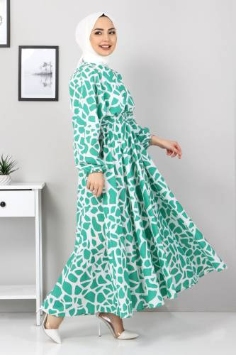 Tesettür Dünyası - Desenli Mevlana Elbise TSD4414 Yeşil (1)