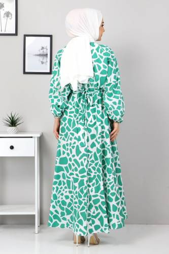 Desenli Mevlana Elbise TSD4414 Yeşil - Thumbnail