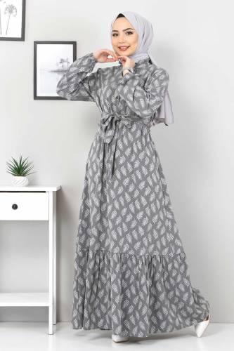 Tesettür Dünyası - Desenli Tesettür Elbise TSD1621 Gri