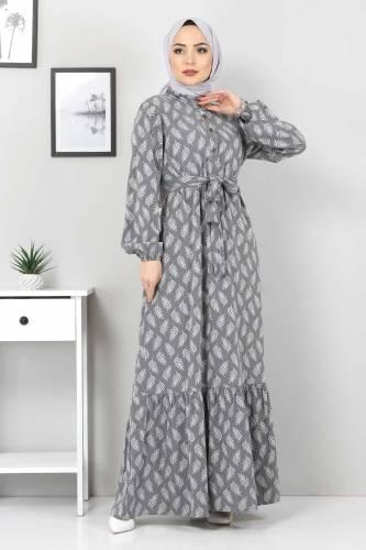 Tesettür Dünyası - Desenli Tesettür Elbise TSD1621 Gri (1)