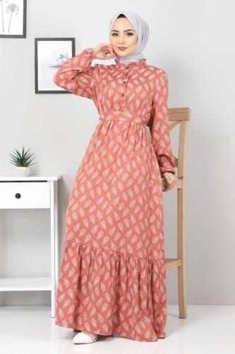 Tesettür Dünyası - Desenli Tesettür Elbise TSD1621 Gül Kurusu