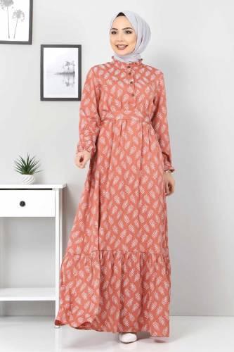 Tesettür Dünyası - Desenli Tesettür Elbise TSD1621 Gül Kurusu (1)