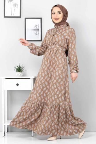 Tesettür Dünyası - Desenli Tesettür Elbise TSD1621 Kahverengi