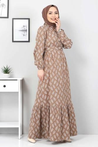 Tesettür Dünyası - Desenli Tesettür Elbise TSD1621 Kahverengi (1)