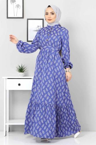 Tesettür Dünyası - Desenli Tesettür Elbise TSD1621 Mavi