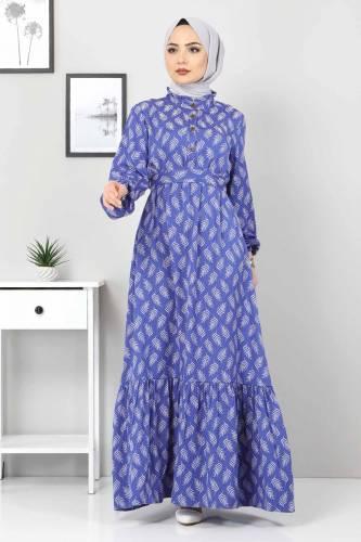 Tesettür Dünyası - Desenli Tesettür Elbise TSD1621 Mavi (1)