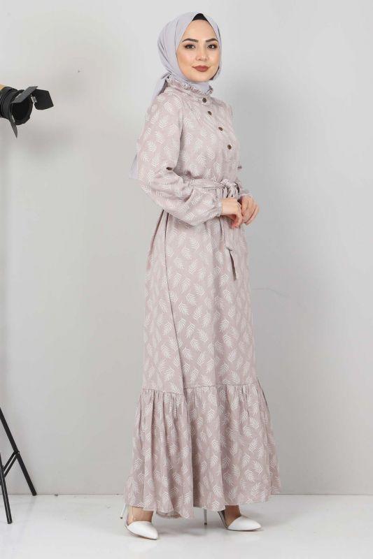 Desenli Tesettür Elbise TSD1621 Vizon