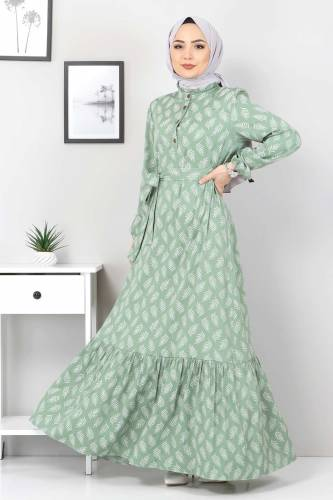 Tesettür Dünyası - Desenli Tesettür Elbise TSD1621 Yeşil (1)