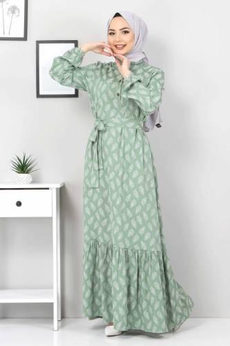 Tesettür Dünyası - Desenli Tesettür Elbise TSD1621 Yeşil