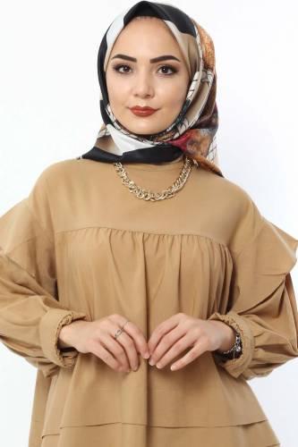 Tesettür Dünyası - Dijital Baskılı Eşarp E020 Camel