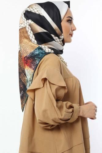 Tesettür Dünyası - Dijital Baskılı Eşarp E020 Camel (1)
