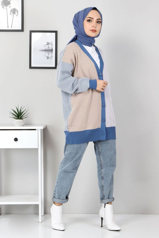Dört Renkli Triko Hırka TSD2482 Mavi
