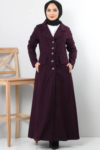 Tesettür Dünyası - Double Breasted Collar Full Length Cachet Coat TSD0237 Plum