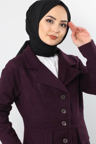 Tesettür Dünyası - Double Breasted Collar Full Length Cachet Coat TSD0237 Plum (1)
