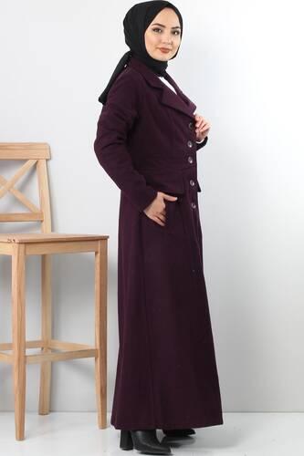 Double Breasted Collar Full Length Cachet Coat TSD0237 Plum - Thumbnail