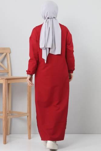 Double collar raincoat TSD1258 dark red - Thumbnail
