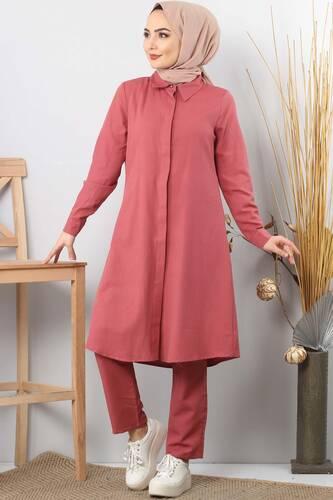 Double hijab suit TSD0154 pink - Thumbnail