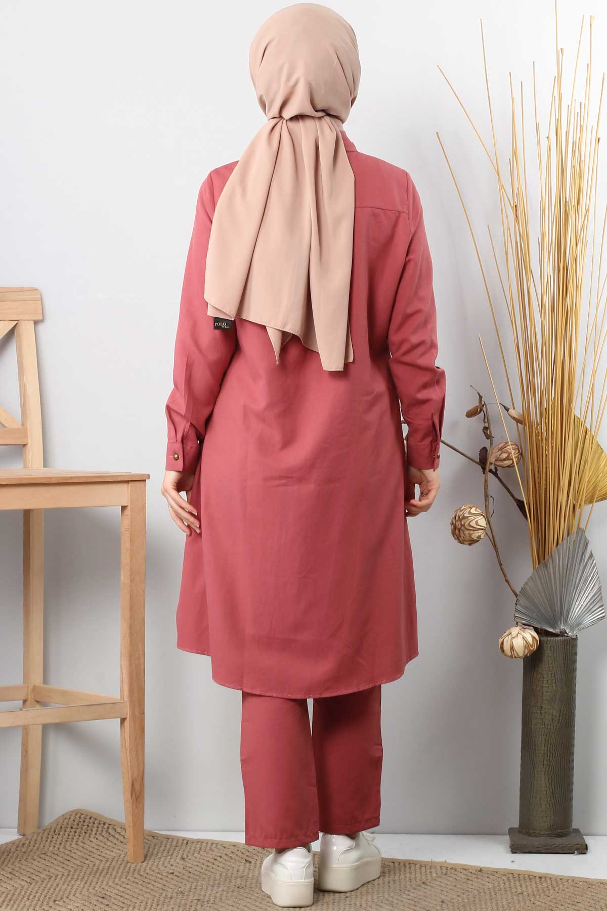 Double hijab suit TSD0154 pink