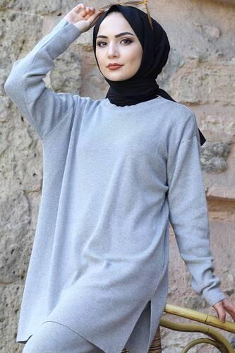 Double Knitwear Suit TSD1111 Gray - Thumbnail