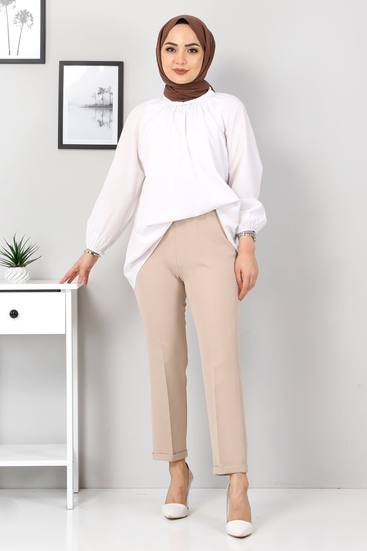 Duble Paça Pantolon TSD9909 Bej