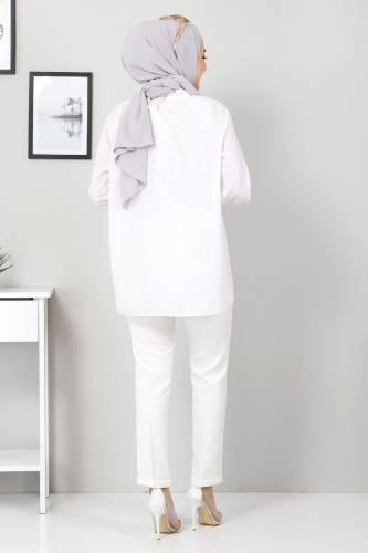 Duble Paça Pantolon TSD9909 Ekru - Thumbnail