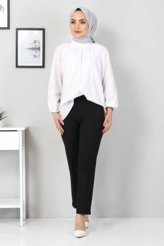 Tesettür Dünyası - Duble Paça Pantolon TSD9909 Siyah
