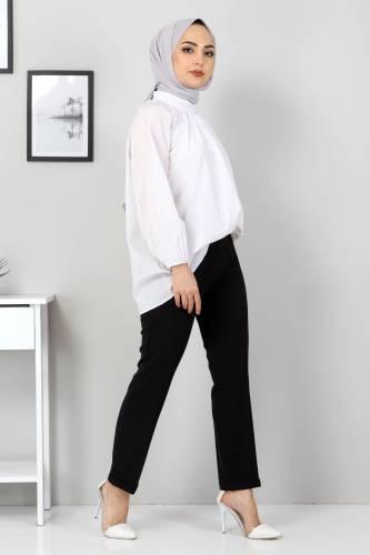 Tesettür Dünyası - Duble Paça Pantolon TSD9909 Siyah (1)