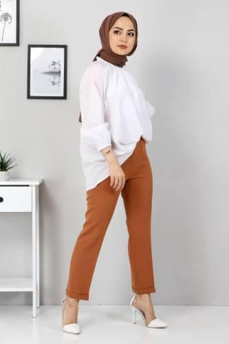 Tesettür Dünyası - Duble Paça Pantolon TSD9909 Taba (1)