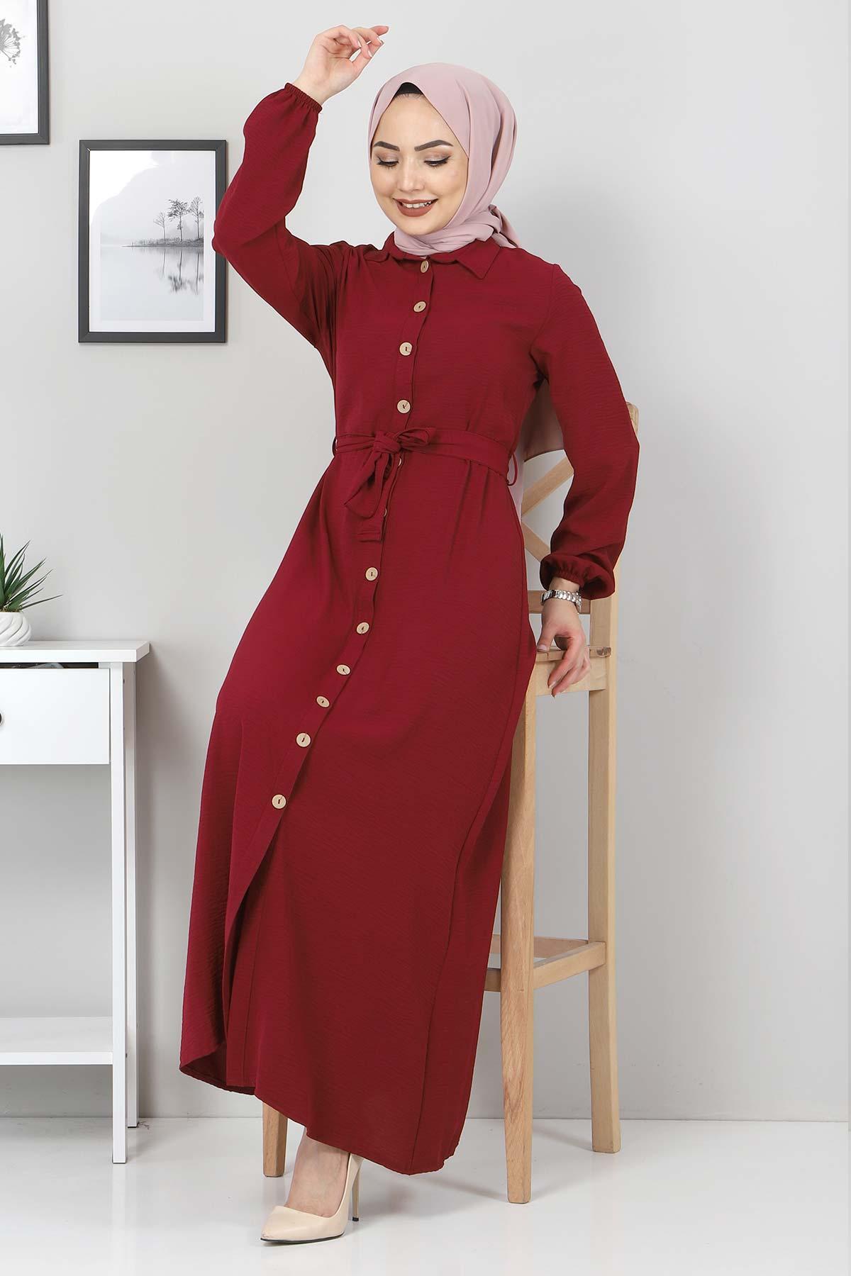 Düğmeli Ayrobin Elbise TSD0341 Bordo