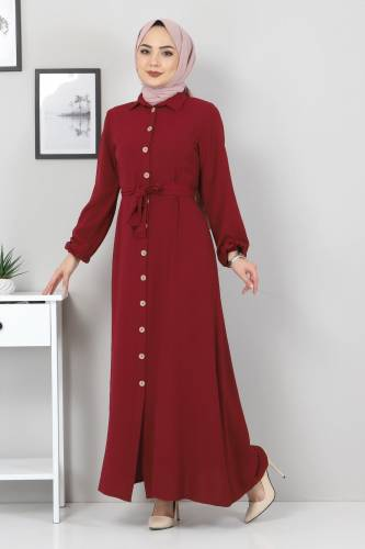 Düğmeli Ayrobin Elbise TSD0341 Bordo - Thumbnail