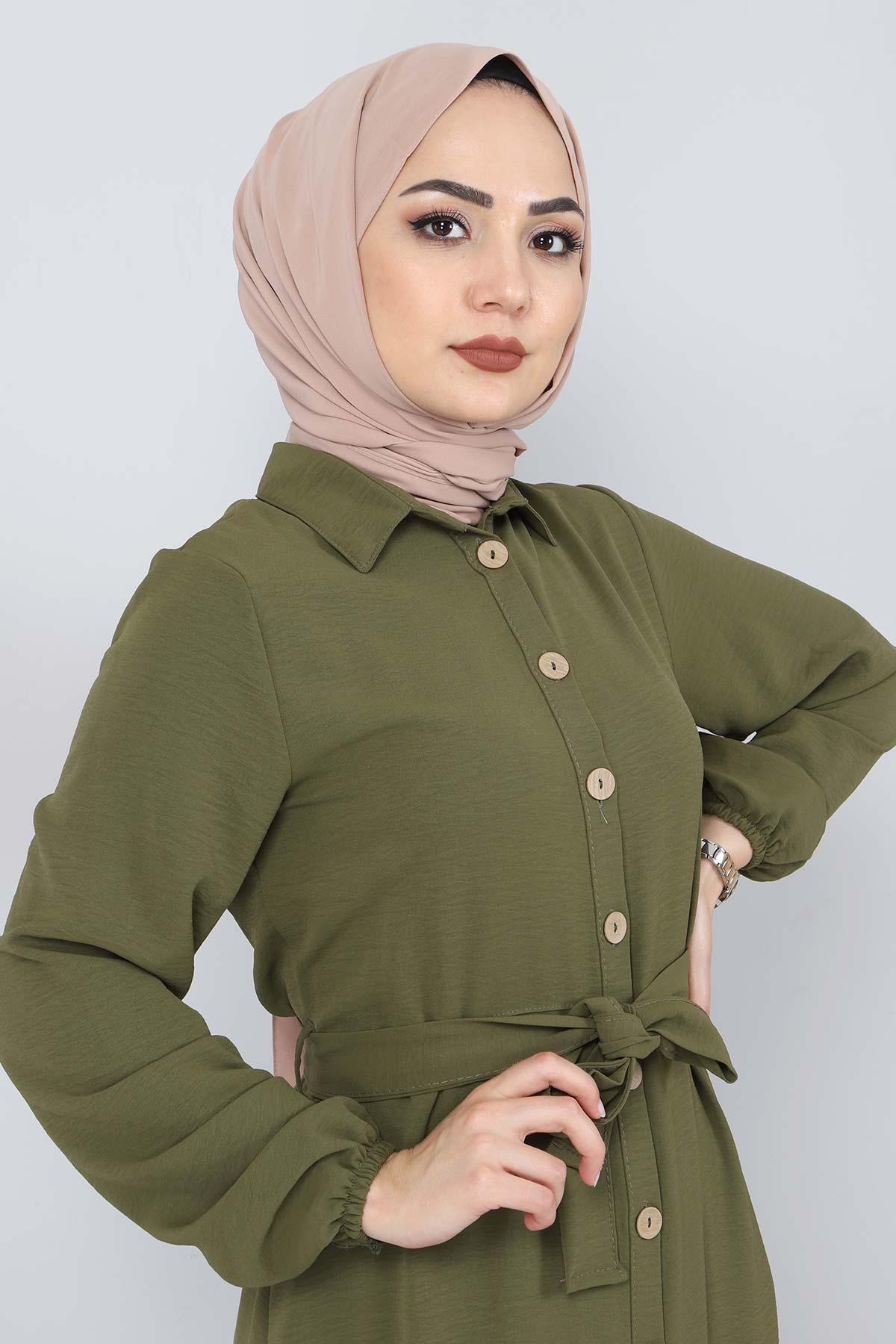 Düğmeli Ayrobin Elbise TSD0341 Haki