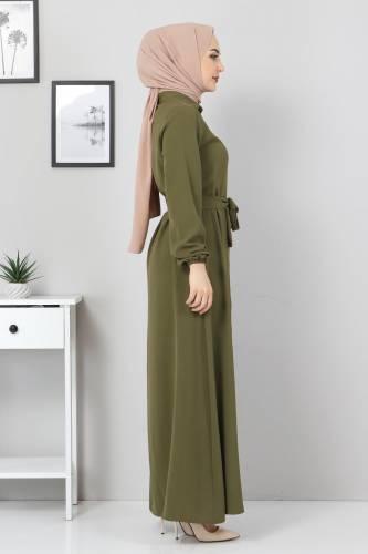 Düğmeli Ayrobin Elbise TSD0341 Haki - Thumbnail