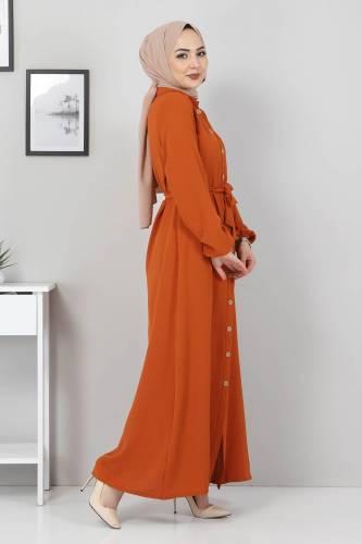 Düğmeli Ayrobin Elbise TSD0341 Kiremit - Thumbnail