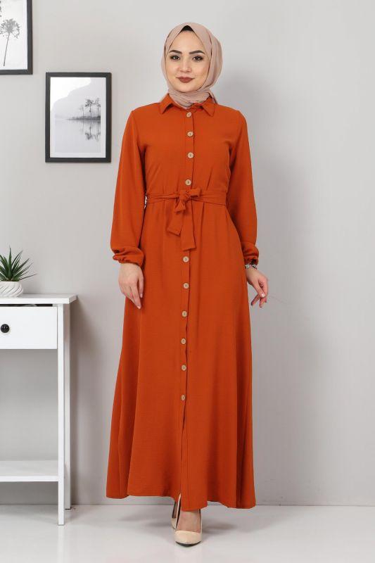 Düğmeli Ayrobin Elbise TSD0341 Kiremit
