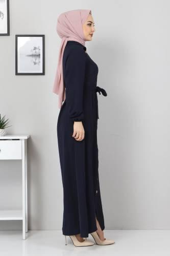Düğmeli Ayrobin Elbise TSD0341 Lacivert - Thumbnail