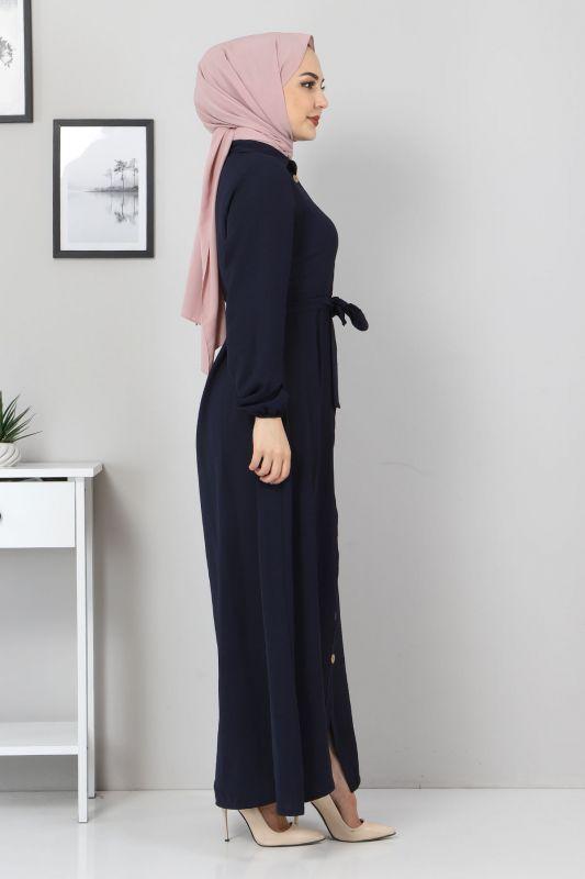 Düğmeli Ayrobin Elbise TSD0341 Lacivert