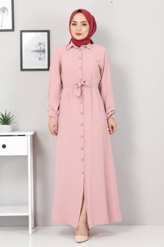 Düğmeli Ayrobin Elbise TSD0341 Pudra - Thumbnail