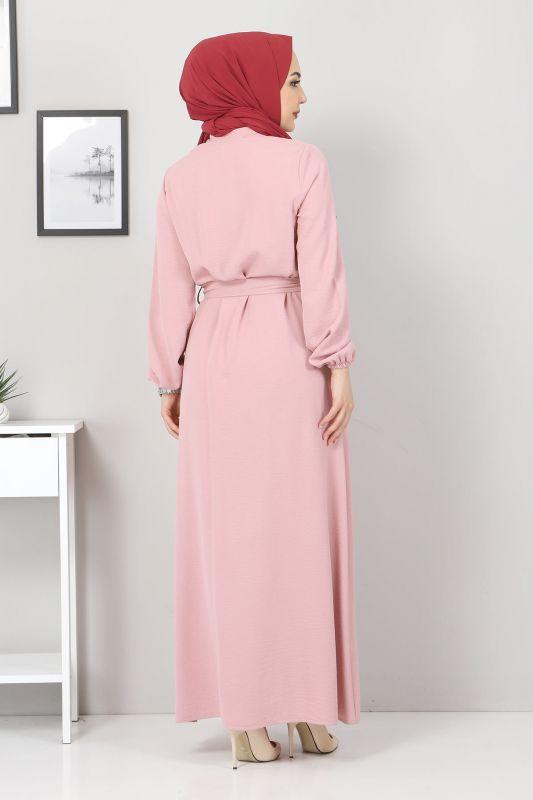 Düğmeli Ayrobin Elbise TSD0341 Pudra