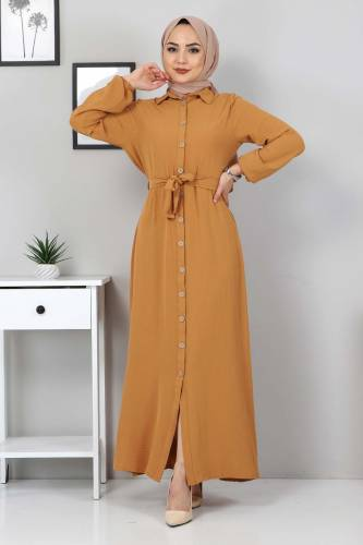 Tesettür Dünyası - Düğmeli Ayrobin Elbise TSD0341 Hardal