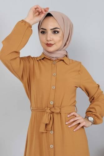 Tesettür Dünyası - Düğmeli Ayrobin Elbise TSD0341 Hardal (1)