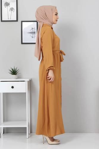 Düğmeli Ayrobin Elbise TSD0341 Hardal - Thumbnail