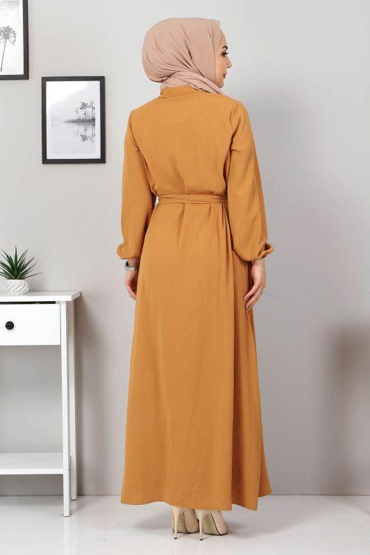 Düğmeli Ayrobin Elbise TSD0341 Hardal