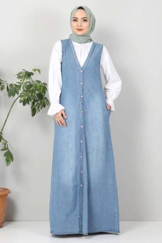 Tesettür Dünyası - Buttoned Jeans Loose TSD4170 Light Blue