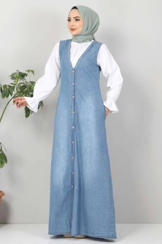 Tesettür Dünyası - Buttoned Jeans Loose TSD4170 Light Blue (1)