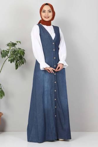 Tesettür Dünyası - Buttoned Jeans Loose TSD4170 Dark Blue