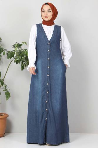 Tesettür Dünyası - Buttoned Jeans Loose TSD4170 Dark Blue (1)